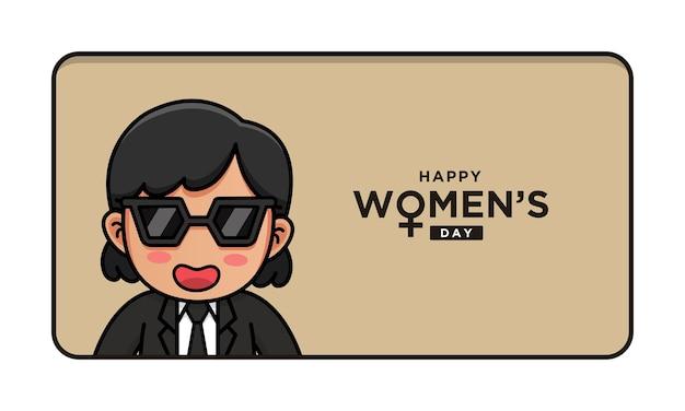 Śliczna kobieta z życzeniami szczęśliwego dnia kobiet
