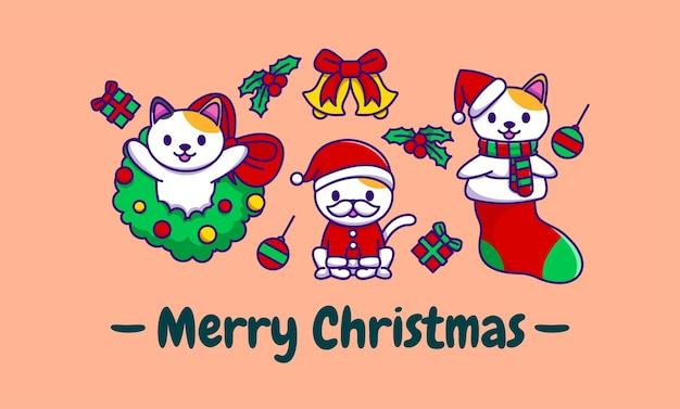 Śliczna kolekcja kotów świątecznych