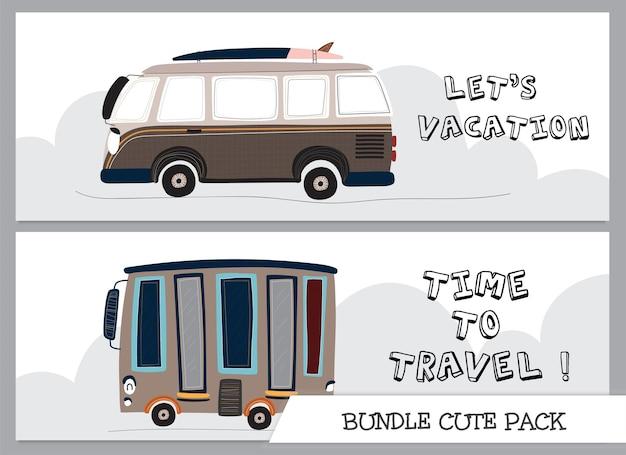 Śliczna kolekcja kreskówka płaska podróż autobusowa ilustracja samochodu