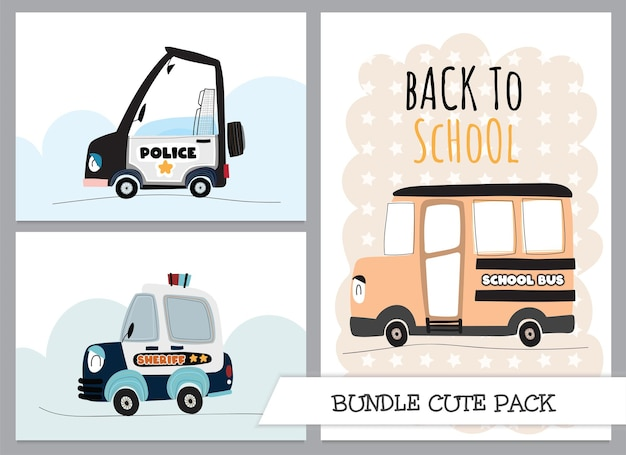 Śliczna kolekcja kreskówka płaski autobus szkolny z ilustracją samochodu policyjnego