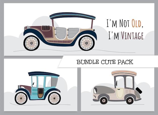 Śliczna kolekcja kreskówka płaski klasyczny samochód ilustracja