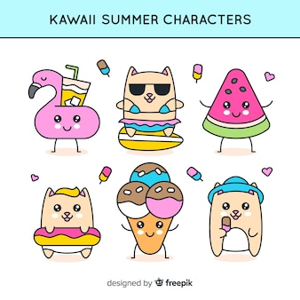 Śliczna kolekcja letnich znaków kawaii