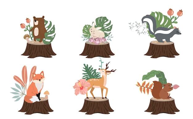 Śliczna kolekcja obiektów leśnych ze skunksem, niedźwiedziem, lisem, jeleniem, kikutem i liśćmi