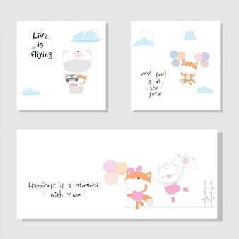 Śliczna kolekcja śliczna zwierzęca ilustracja dla dzieciaków