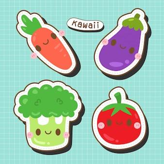 Śliczna kolekcja warzyw - kawa marchew - marchew, pomidor, bakłażan i brokuły