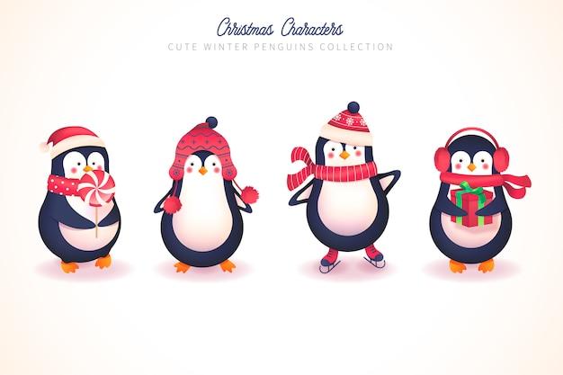 Śliczna kolekcja zimowych pingwinów na boże narodzenie