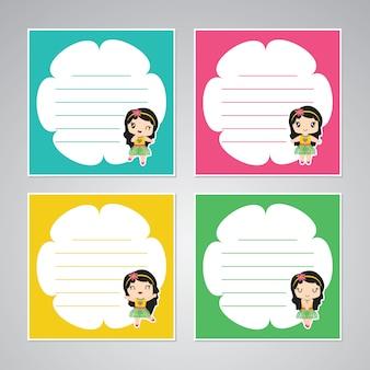 Śliczna kolorowa aloha dziewczyny rama dla dzieciaka notatki papieru setu