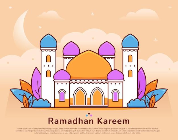 Śliczna kolorowa duża ilustracja meczetu na tle pozdrowienia ramadan mubarak kareem