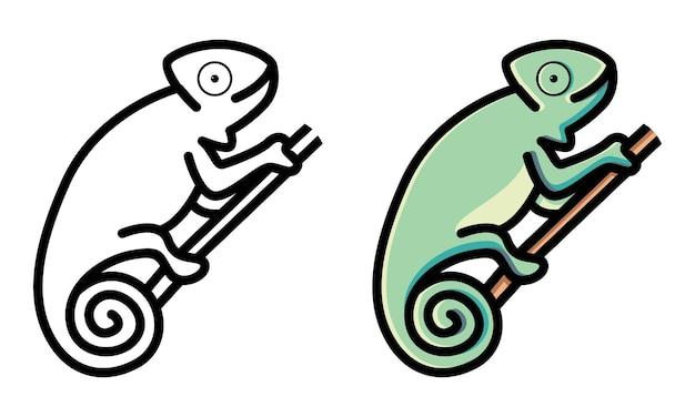 Śliczna kolorowanka kameleon dla dzieci