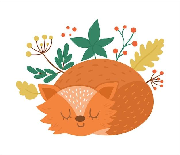 Śliczna kompozycja ze śpiącym lisem. jesienny projekt nadruku. zwierzęta leśne w sezonie jesiennym