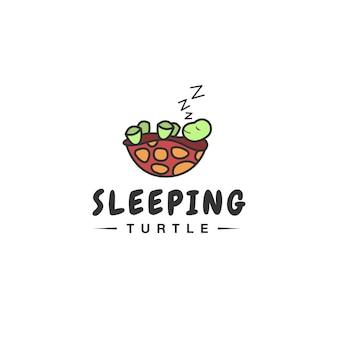 Śliczna koncepcja logo śpiącego żółwia