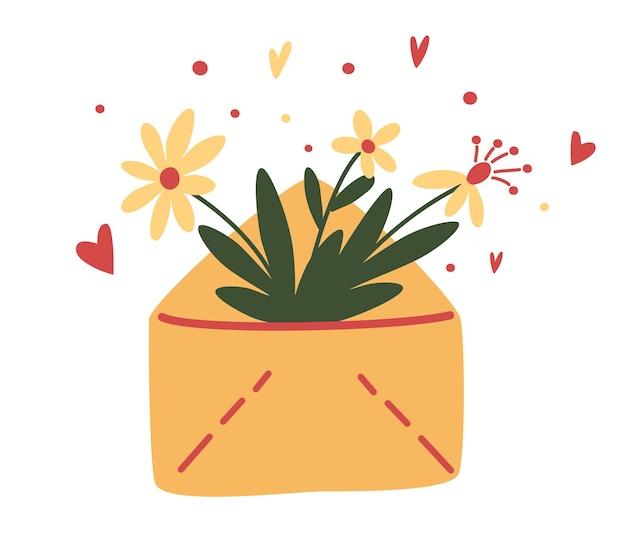 Śliczna koperta z kwiatami, roślinami w środku. kwiatowa poczta. wiosenny bukiet kwiatów. koncepcja projektu wektor na walentynki i innych użytkowników. ilustracja wektorowa w stylu cartoon.