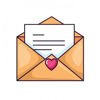 Śliczna kopertowa ikona otwarta z kartą i sercem