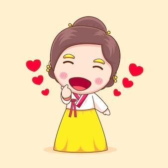 Śliczna koreańska dziewczyna z hanbokiem pozuje miłość palec