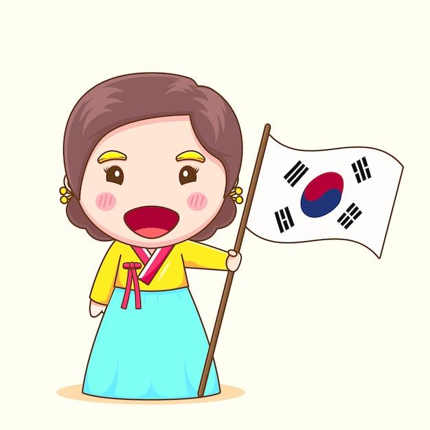 Śliczna koreańska dziewczyna z hanbokiem trzymając flagę