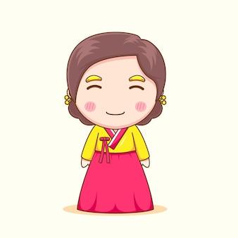 Śliczna koreańska dziewczyna z hanbokiem