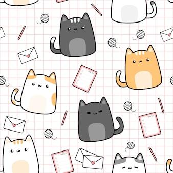 Śliczna kot figlarka i materiał kreskówka doodle bezszwowego wzór