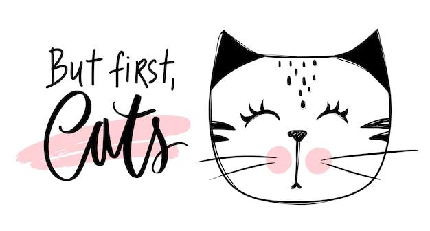 Śliczna kot ilustracja. ręcznie rysowane stylowy kotek.