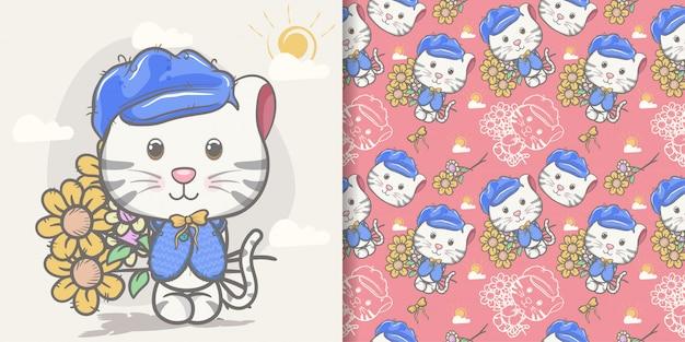 Śliczna kot kreskówka z wzoru setem