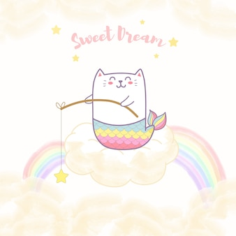 Śliczna kot syrenka siedzi na chmurze trzyma gwiazdę z tęczą