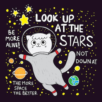 Śliczna kota astronauta ręka rysująca dla t koszula