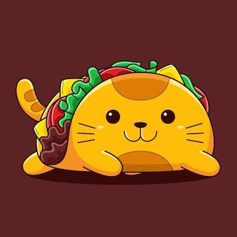 Śliczna kotka taco ilustracja z płaskim stylu cartoon.