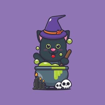 Śliczna kotka wiedźma robi mikstury śliczna ilustracja kreskówka halloween