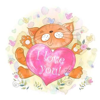 Śliczna kotka z sercem. kocham cię. dzień walentyna.