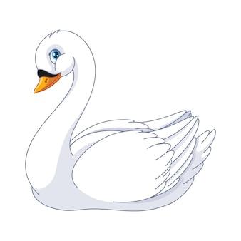Śliczna kreskówka białego łabędzia