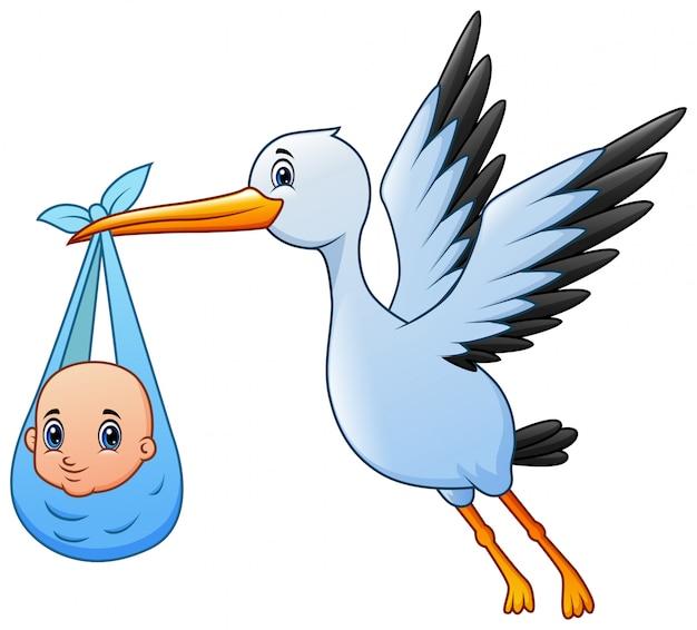 Śliczna kreskówka bocian lata z chłopiec