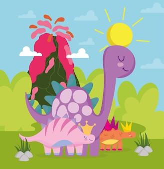 Śliczna kreskówka dinozaurów
