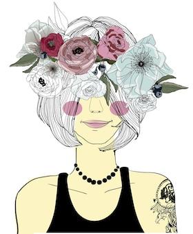 Śliczna kreskówka dziewczyna z warkoczem i kwiatami