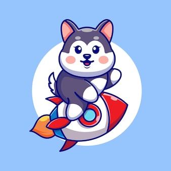 Śliczna kreskówka husky jazda rakieta