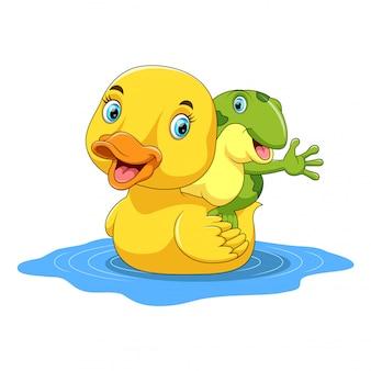 Śliczna kreskówka kaczka i żaba