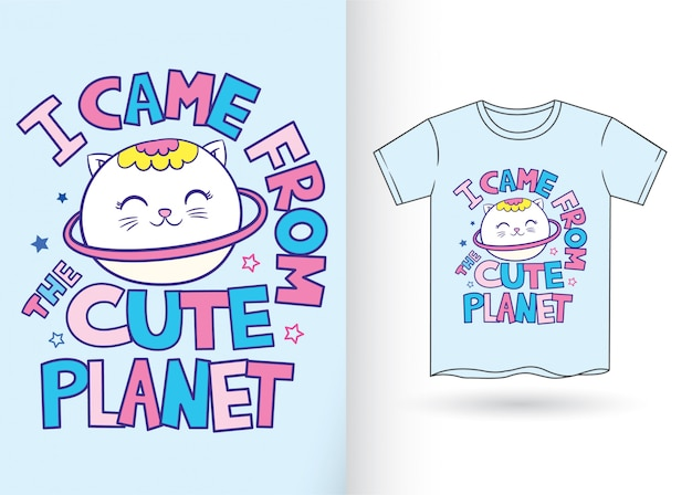 Śliczna kreskówka kot kreskówka na koszulkę