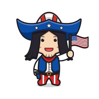 Śliczna kreskówka kowboja w stroju stanów zjednoczonych ameryki i trzymająca flagę