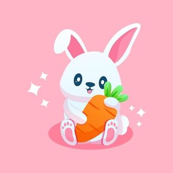 Śliczna kreskówka królika z marchewką
