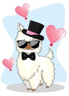Śliczna kreskówka lama z balonowymi sercami.