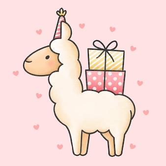 Śliczna kreskówka lamy i pudełka na prezenty