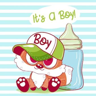 Śliczna kreskówka lisa chłopiec z żywieniową butelką