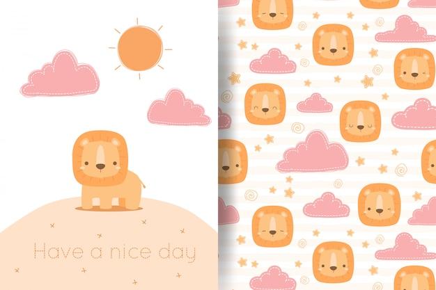 Śliczna kreskówka lwa i chmury doodle bezszwowy deseniowy kartka z pozdrowieniami