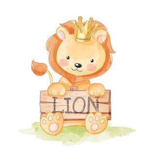 Śliczna kreskówka lwa mienia lwa drewna znaka ilustracja