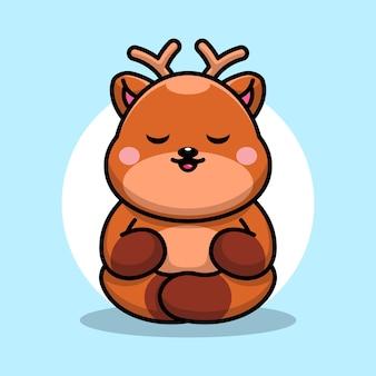Śliczna kreskówka medytacja jelenia dla dzieci