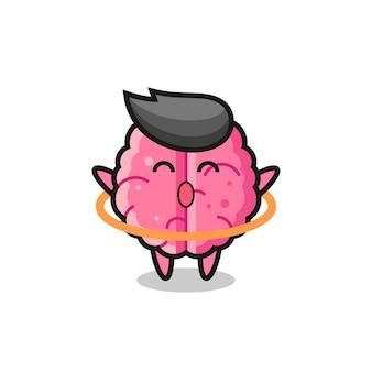 Śliczna kreskówka mózgu gra w hula hop, ładny styl na koszulkę, naklejkę, element logo