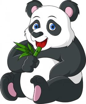 Śliczna kreskówka panda je bambusa