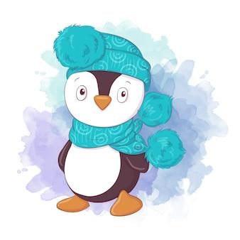 Śliczna kreskówka pingwina chłopiec w szaliku i kapeluszu