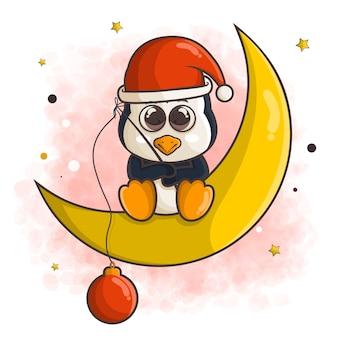 Śliczna kreskówka pingwina w świątecznej czapce, łowienie ryb z bombką, siedząc na ilustracji księżyca