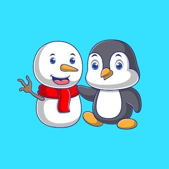 Śliczna kreskówka pingwina z człowiekiem lodu