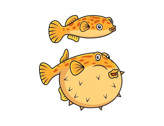 Śliczna kreskówka ryba puffer