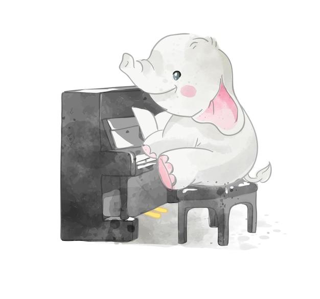 Śliczna kreskówka słoń pianista ilustracja